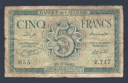 ALGERIE 5 FRANCS 16-11-1942 - Algeria