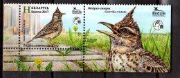 2017 Belarus - Bird Of The Year - Crested Lark  1v With Sheelet Coupon - MNH** MI 1186 - Sperlingsvögel & Singvögel