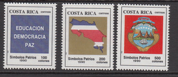 1990 Costa Rica Education Democracy Peace Map Coat Of Arms  Complete Set Of 3 MNH - Costa Rica