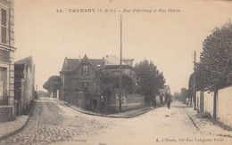 TAVERNY-RUE D'HERBLAY ET RUE THIERS-CARTOLINA ANNO 1910-20 - Taverny