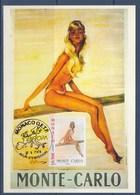 = Europa L'Art De L'affiche Monaco 1er Jour 5.V.2003 N°2393 Jeune Fille Au Plongeoir De Jean-Gabriel Domergue - Cartoline Maximum
