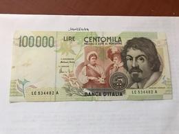 Italy Caravaggio Uncirculated Banknote 100000 Lira - [ 2] 1946-… : Repubblica