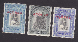 Azores, Scott #284, 289, 291, Mint Hinged, Third Independence Overprinted, Issued 1928 - Azores