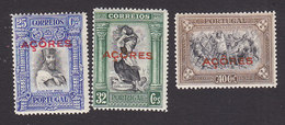 Azores, Scott #291-293, Mint Hinged, Third Independence Overprinted, Issued 1928 - Azores