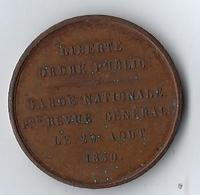 France Médaille 29 Août 1850 Liberté Ordre Public Garde Nationale Revue Générale - Royaux / De Noblesse