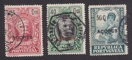 Azores, Scott #244, 246, 248, Used, Centenary Of Birth Of Castello-Branco Overprinted, Issued 1925 - Azoren