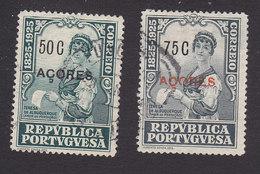 Azores, Scott #248, 250, Used, Centenary Of Birth Of Castello-Branco Overprinted, Issued 1925 - Açores