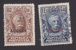 Azores, Scott #251, 253, Used, Centenary Of Birth Of Castello-Branco Overprinted, Issued 1925 - Açores