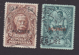 Azores, Scott #251, 255, Used, Centenary Of Birth Of Castello-Branco Overprinted, Issued 1925 - Azores