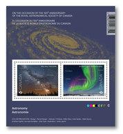 ASTRONOMY, MILKY WAY, NORTHERN LIGHTS Souvenir Sheet, Bloc Of 2 Stamps Canada 2018 - Raumfahrt