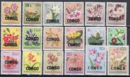 """Congo, Dr 1960 - Belgian Congo Postage Stamps Overprinted """"CONGO"""" - Mi 11-28 ** MNH - République Du Congo (1960-64)"""