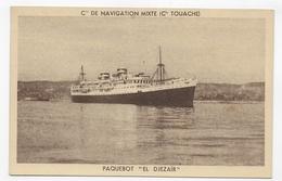 (RECTO / VERSO) PAQUEBOT EL DJEZAIR - Cie DE NAVIGATION MIXTE Cie TOUACHE - CPA NON VOYAGEE - 75 - Paquebots