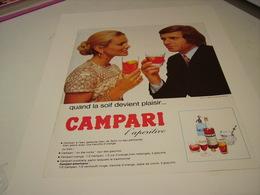 ANCIENNE PUBLICITE L APERITIF CAMPARI LA SOIF 1972 - Alcohols