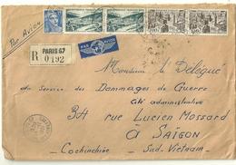 LETTRE RECOMMANDEE PAR AVION POUR L'INDOCHINE AFFRANCHIE A 295F LE 15/11/51 - Marcophilie (Lettres)