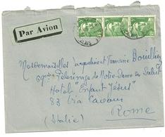 LETTRE PAR AVION POUR L'ETRANGER ITALIE AVEC 3 MARIANNE DE GANDON 5F VERT - Storia Postale