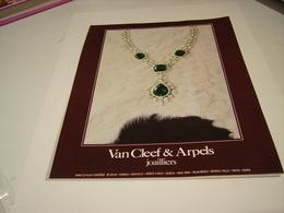 ANCIENNE PUBLICITE JOAILLIER VAN CLEEF & ARPELS  1978 - Jewels & Clocks