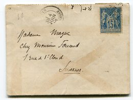 Lot Quatre Sage 15 C Bleu Sur Enveloppes - Postmark Collection (Covers)