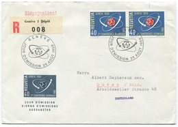 1916 - R-FDC Atomkonferenz 1958 Mit ABART Von GENÈVE Nach DÜREN (DE) - Abarten