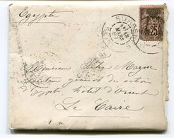 Lot Cinq Sage 25 C Bleu Sur Enveloppes Egypte Hôtel D'Orient Le Caire - Postmark Collection (Covers)