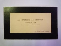 CARTE  De  VISITE  De  M. Du BAHUNO Du  LISCOËT  19 Rue St-Julien  DOUAI    - Cartes De Visite