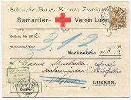 1918 - Rotes Kreuz - 12 Rp. Helvetia Brustbild Auf Nachnahmebeleg Von LUZERN - Suisse