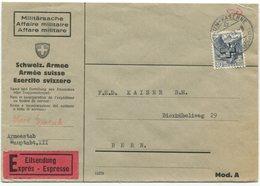 1919 - 40 Rp. Kreuzaufdruck Per Express Von THUN-KASERNE Nach BERN - Service