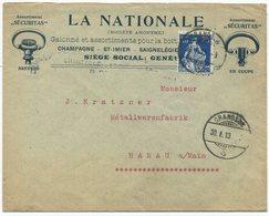1920 - 25 Rp. Helvetia Mit Schwert Auf Illustriertem Auslandbeleg Mit Doppelprägung Der Briefillustration - Lettres & Documents
