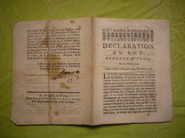 Déclaration Du Roy 1726 Concernant Le Clergé 12 Pages - Décrets & Lois