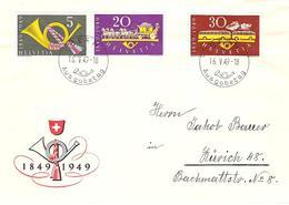"""Schweiz Suisse 1949: 100 Jahre Post Zu 291-293 Mi 519-521 Yv 471-473 O """"BERN 16.V.1949 Ausgabetag"""" (Zumstein CHF 70.00) - FDC"""