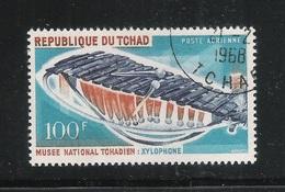 REPUBLIQUE DU TCHAD -1965 - Valore Obliterato Da 100 F. Di P.A. - MUSEO NAZIONALE- STRUMENTI MUSICALI - IN BUONE CONDIZ. - Ciad (1960-...)