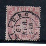 Baden / N 12 / 9 K Rose / Oblitéré / Côte 225 € - Baden