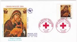 """Enveloppe 1er Jour  10.11.2004  Paris Croix Rouge Française  """"Vierge à L'enfant"""" - Red Cross"""