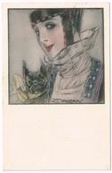 Art Deco 1921 Lady With Dog - L.A. Mauzan - Mauzan, L.A.