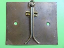 312 - Ancien Chevalet Tout Cuivre - Plaque, Fixation Et Pied - Support Divers - Cuivres