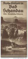 Bad Schandau 1936 - Faltblatt Mit 6 Abbildungen - Auf Der Innenseite Eine Gemalte Luftaufnahme 30cm X 55cm Signiert Rudo - Saxe