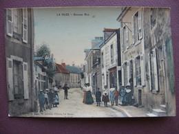 CPA 72 LA SUZE SUR SARTHE Grande Rue RARE PLAN ? écrite Par Mr CHANTELOUP Coiffeur ANIMATION & CAFE DU PETIT PARISIEN - La Suze Sur Sarthe