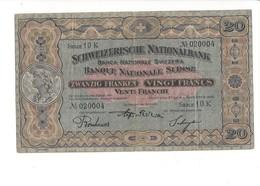 001 - 20 CHF Vreneli 2ème émission 1.11.1928 Bon état Signature NY1 No 10K020004 - Switzerland