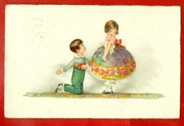 ART DECO CHLLDREN ROMANCE VINTAGE POSTCARD USED 1104 - Künstlerkarten