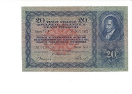 002 - 20 CHF 3ème émission 17.03.1939 Non Circulé Signature RF No 12J 015363 - Switzerland