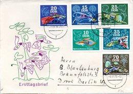 """DDR Schmuck-FDC  Mi 2176/81, """"Zierfische: Guppys (Poecilla Reticulata)"""", ETSt RUDOLSTADT 9.11.1976 - Fishes"""