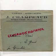 87 - EYMOUTIERS- ENVELOPPE J. CHAMPEAUD - GARAGE SERRURERIE - A MADAME DURIS - Old Professions