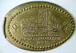 03265 GETTONE JETON TOKEN AUSTRIA ELONGATED PENNY TOKEN HUNDETWASSERHAUS WIEN - Tokens & Medals