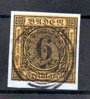 Baden / N 8 / 6 K Jaune Sur Fragment / Oblitéré / Côte 35 € - Baden