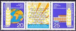 2017-0324 GDR 1970 5th World Congress For Cereals And Bread Strip Of 3 Complete Set Mi 1575-6 MNH ** - Landwirtschaft