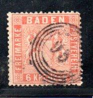 Baden / N 11a / 6 K Orange / Oblitéré / Côte 100 € - Baden