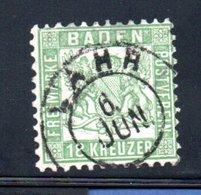 Baden / N 20 / 18 K Vert  / Oblitéré / Côte 800 € - Baden