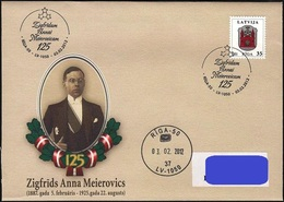 Latvia Lettland Lettonie 2012 The First Foreign Minister Of Latvia - Z.A. Meierovics - 125 Years (addressed Cover) - Lettonie