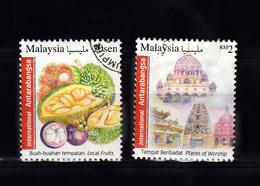 Malaysia 2016  Mi Nr  2280 + 2283, Fruit En Tempel Gestempeld - Maleisië (1964-...)