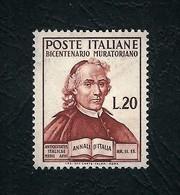 ITALIA 1950 - Bicentenario Della Morte Di Ludovico Muratori - 20 L.bruno - MNH - Sassone 625 - 6. 1946-.. Repubblica