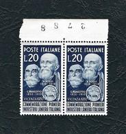 ITALIA 1950 - Coppia In Onore Dei Pionieri Dell'industria Laniera Italiana - 20 L. Azzurro Nero - MNH - Sassone 628 - 1946-60: Nuovi